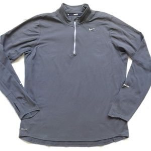 Nike Pullover 1/4 Zip Gray Running Thumb Holes L
